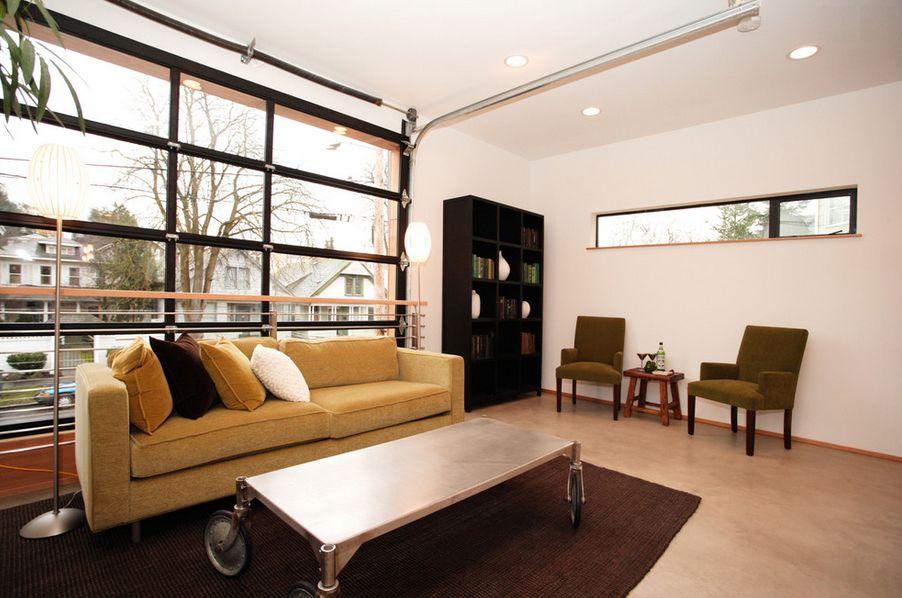 Converted garage living room